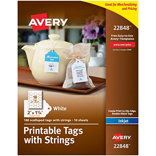 "Avery Scalloped Printable Tags for Inkjet Printers Only, Tags With Strings, 2"" x 1.25"", 180 Tags (22848)"