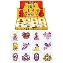 18 packs of 12 Children Kids Girls Princess Temporary Tattoos Party Bag Loot Pinnata Fillers 216 in Total