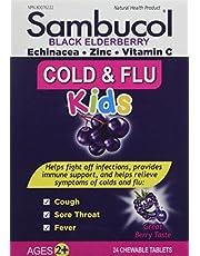 Sambucol Black Elderberry Cold & Flu Kids   Relieves Cold & Flu Symptoms   Immune Support & Antioxidant   Gluten Free   24 Chewable Tablets, blue