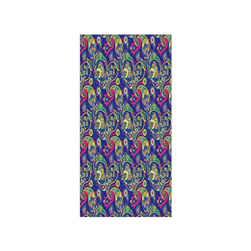 - Decorative Privacy Window Film/Classic Persian Jacquard Boteh Ikat Motifs Old Welsh Pears Artwork/No-Glue Self Static Cling for Home Bedroom Bathroom Kitchen Office Decor Indigo and Olive Green