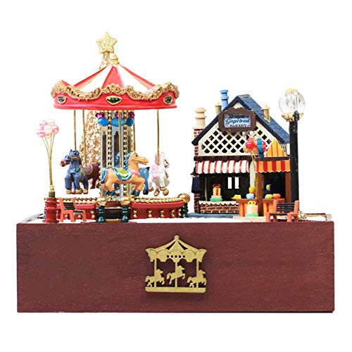 Spilay DIY Miniature Dollhouse Wooden Furniture Kit,Handmade Mini Home Model with Dust Cover & Music Box ,1:24 Scale Creative Doll House Toys for Lovers (Carousel Happy Garden) T020