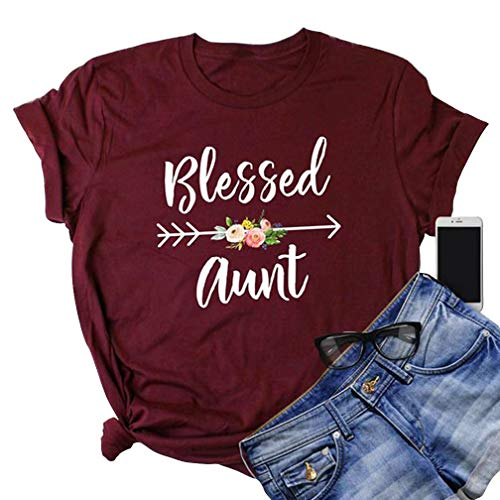 Blessed Aunt T Shirts Womens Funny Letter Print Arrow Floral Graphic Tees New Aunt Gift Shirt Tops Size XL (Red)