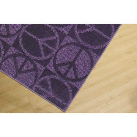 Durable and Stain-Resistant,Garland Peace Sign Rug for Kids Bedroom or Playroom (5'x7', purple)