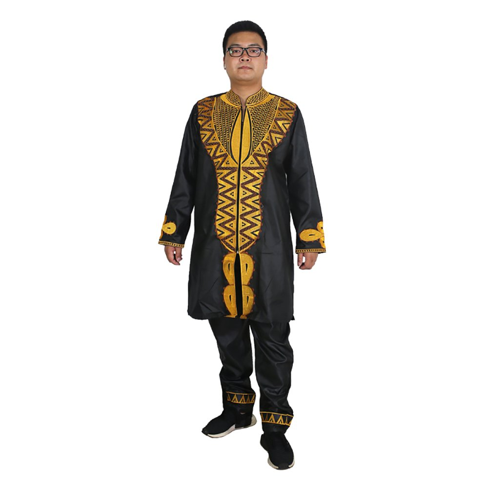 HD Dashiki Men Outfits African Clothing Embroidery Pattern Top and Pants Set for Man Black 2XL