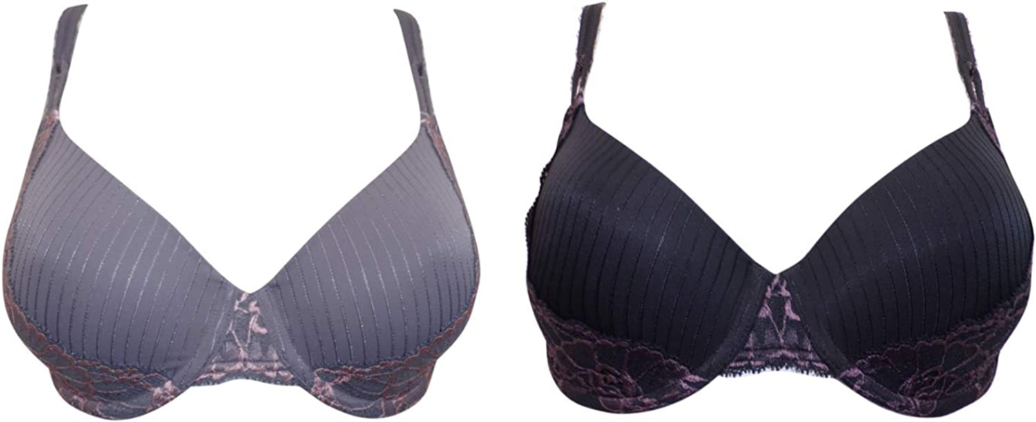 M/&S ADORED BRA BLACK PURPLE LACE COOL COMFORT UNDERWIRED PADDED BALCONY NEW