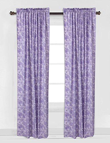 Bacati Isabella Girls Paisley Scroll Single Window Curtain Panel Non-Light Blocking, Lilac/Purple/Aqua
