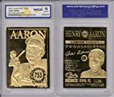 HANK AARON 755 Home Run King 1996 Sculptured 23KT Gold Card - Graded GEM MINT 10