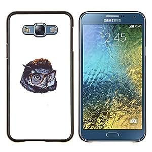 KLONGSHOP // Cubierta de piel con cierre a presión Shell trasero duro de goma Protección Caso - Búho lindo de Gentleman - Samsung Galaxy E7 E700 //