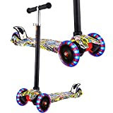 Hikole Scooter for Kids Boys Girls Age 3-12, 3 Wheel Mini Kick Scooter with Adjustable Handbar and LED Light Up Wheels, Support 110Lbs