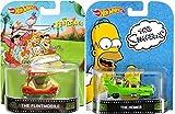 The Homer & Flintstones Hot Wheels 2 Car Set - Retro Entertainment Series Die-Cast Simpsons Cartoon Vehicles