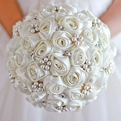 Amazon.com: Ivory Rose flower bridal brooch bouquet Wedding Bride \'s ...
