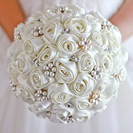 Amazoncom Ivory Rose flower bridal brooch bouquet Wedding Bride s