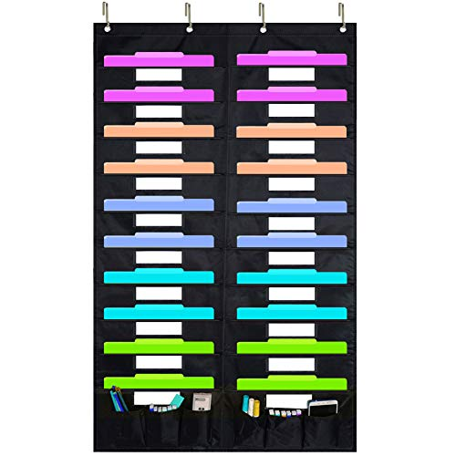 Eamay Hanging File Folder Organizer - 20 Pockets and 6 Learning Tool Pockets, Wall Mount Document Letter Organizer/ Pocket Chart Office Supplies Office Bill Organizer for Home School Classroom Planner