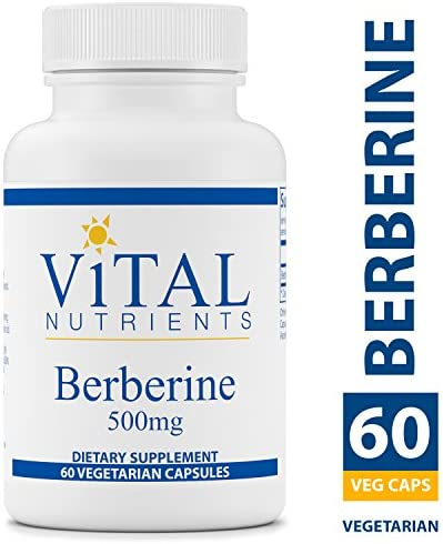 Vital Nutrients – Berberine 500 mg – Vegan Formula – Promotes Healthy Blood Sugar Levels, Regulates Bowel Function, Helps Maintain Normal Triglyceride Levels – 60 Vegetarian Capsules per Bottle