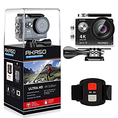 AKASO EK7000 4K WIFI Sports Action Camera Ultra HD Waterproof DV Camcorder 12MP 170 Degree Wide Angle 2 inch LCD Screen/2.4G Remote Control/2 Rechargeable Batteries/19 Mounting Kits from Tabletexpress