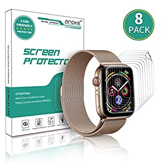 [8 Pack] AnoKe for Apple Watch iWatch 38mm / 40mm Screen Protector (Series 5 Series 4 Series 3/2/1),Liquid Skin [Max Coverage] Curved Edge Case Band Friendly Lifetime Replacement Warranty 38mm /40mm