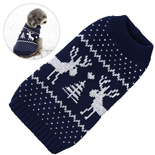 Petacc Dog Christmas Sweater Pet Holiday Clothes Dog Warm Knitwear with Reindeer Pattern, Suitable for Small Dogs (L)