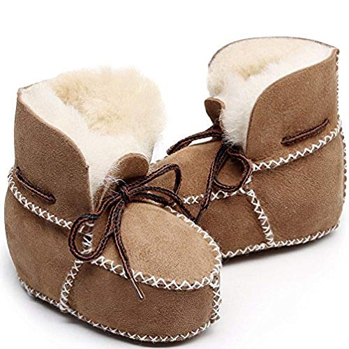 Winter Baby Snow Boots Infants Warm Shoes Fur Wool Girls Baby Booties Sheepskin Genuine Leather Boy Boots (14cm, Brown)