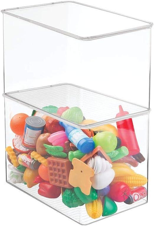 mDesign Juego de 2 cajas de almacenaje con tapa para guardar ...