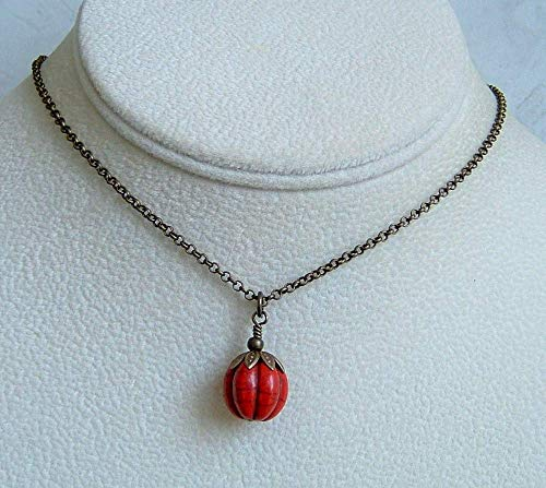 Red Howlite Carved Pumpkin Pendant 18 Inch Hypoallergenic Antique Brass Simple Necklace Gift Idea -