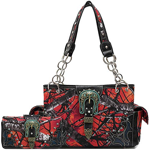 Western Style Concealed Carry Buckle Camouflage Country Purse Women Handbag Shoulder Bag Wallet Set Fire (Camouflage Buckle)