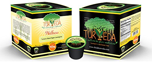 Turveda Tea, Turmeric Curcumin Lemongrass Tea (Decaffeinated) for Keurig K-Cup Brewer, 95% Curcumin K-Cup Supplement for Cardiovascular Support & Healthy Aging, 100% Natural, 15 Single Serve Cups