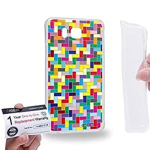 Case88 [Samsung Galaxy Alpha] Gel TPU Carcasa/Funda & Tarjeta de garantía - Art Design Rainbow Puzzle Tetris 1808