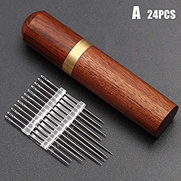 Lamoreco Stainless Steel Self-Threading Needles Opening Sewing Darning Needles Set Embroidery Needle Storage Versatile Wooden Needle Case Sewing Needles Sewing Supplies for Stitching