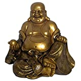 L73093 Happy Buddha Gold Colour 12 inch high