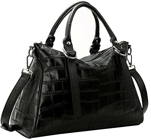 Hardware Leather Handbag (Iswee Women's Designer Leather Shoulder Bag Handbags Tote Purses Stone Pattern Satchel For Ladies On Clearance (Black) )