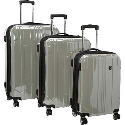 3 Luggage Set Wheeled Piece (Traveler's Choice Sedona 8-Wheels Polycarbonate Hardside Expandable Spinner 3-Piece Luggage Set, Pewter (21