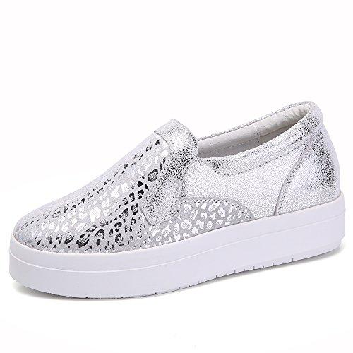Fashion Flats Liz On Silver High Loafer Women's SUNROLAN Shoes Leopard Platform Leopard Slip Print Sneakers AzqWTw8Un