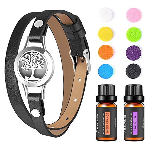 FAURORA Essential Oil Bracelet, Aromatherapy Diffuser Jewelry Stainless Steel Locket with 2 Aroma Oils, Christmas Birthday Anniversary Gift Set for Women, Girls, Mother(Black)