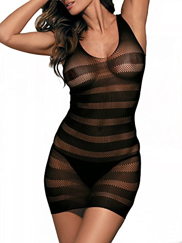 Beauty's Love Sexy Fishnet Seamless Striped Mini Dresses Hosiery Chemise Lingerie ()