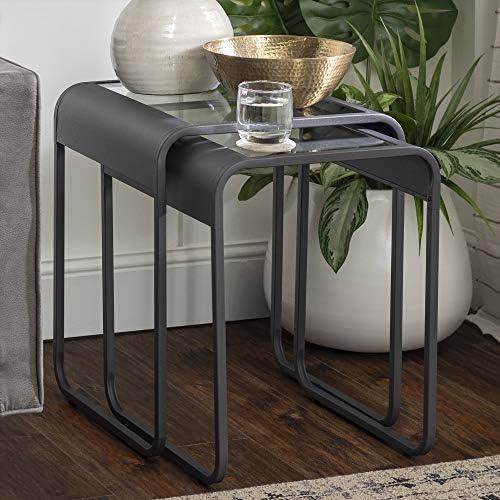 Walker Edison Curved Frame Nesting Side Accent Set Living Room Storage End Table