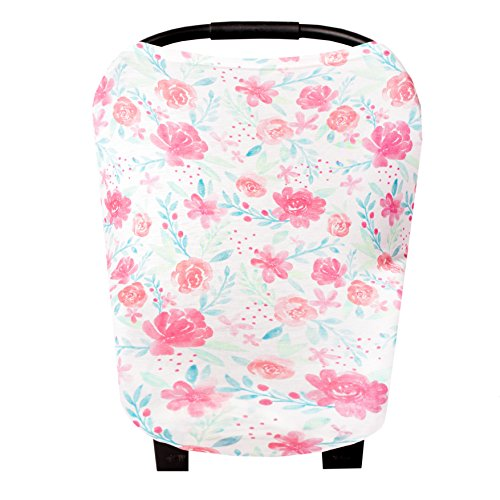 Baby Car Seat Cover Canopy and Nursing Cover Multi-Use Stretchy 5 in 1 Gift June by Copper Pearl