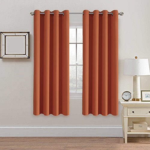 H.VERSAILTEX Solid Thermal Insulated Grommet Blackout Window Curtain Panels for Nursery & Infant Care - Burnt Orange - 52
