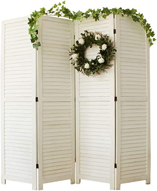 Biombo vintage de madera maciza plegable elegante tabique decorativo / pantalla de privacidad, 4 lados | Adecuado para el balcón de la sala de estar del dormitorio (tamaño individual 170x45cm): Amazon.es: Hogar
