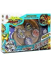 LEMON TREE SL Bursttop peonza Estilo Beyblade con Lanzador Pack 4 peonzas. Mayor rotación. Version Metal Spinners (Multicolor)