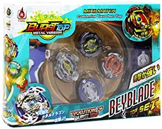LEMON TREE SL Bursttop peonza Estilo Beyblade con Lanzador Pack 4 peonzas. Mayor rotación. Version Metal Spinners (Multicolor): Amazon.es: Hogar