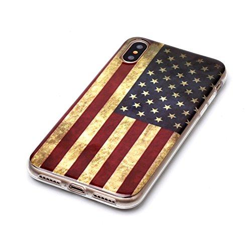 Coque iPhone X drapeau américain Premium Gel TPU Souple Silicone Protection Housse Arrière Étui Pour Apple iPhone X / iPhone 10 (2017) 5.8 Pouce + Deux cadeau