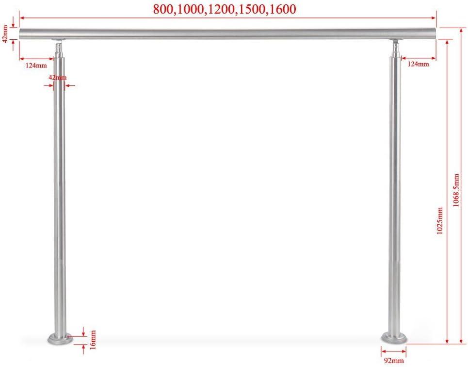 Hengda/® Edelstahl Handlauf Treppengel/änder Wand Gel/änder Handlauf Set Edelstahl Halter f/ür Treppen T/ür Innenbereich mit 2 Pfosten,100CM, 2 Querstreben