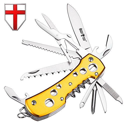 (Multi Function Knife 11-in-1 with Corkscrew and Scissors - Utility Tool, Good for Camping, Hunting, Survival, Hiking and Outdoor Activities - Grand Way 100015)