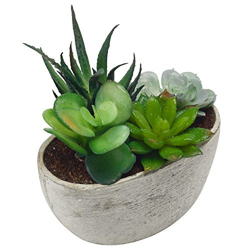 MyGift Decorative Artificial Succulent Plant Arrangement with Oval Gray Pot