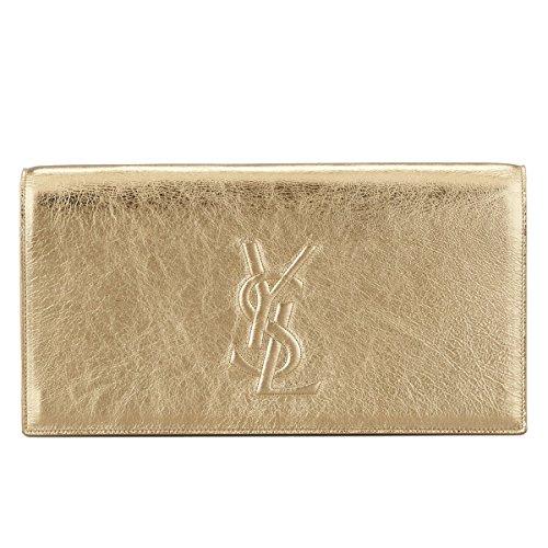 Yves Saint Laurent YSL Sac Belle du Jour Gold Metallic Leather Evening Bag Clutch 361120
