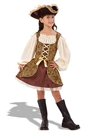 783107ce8 GIRLS GOLDEN HIGH SEAS PIRATE FANCY DRESS COSTUME  Amazon.co.uk ...