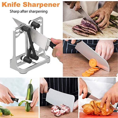 Knife Sharpener, Sharpens, Hones, Polishes Beveled Blades, Standard Blades, Chef\'s Knives - Safe, Easy to Use Kitchen Tools