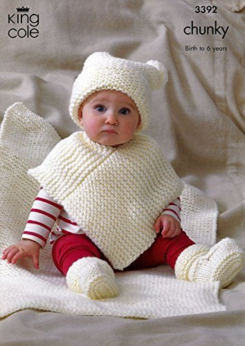 King Cole Baby Hat, Poncho, Booties & Blanket Comfort Chunky ...