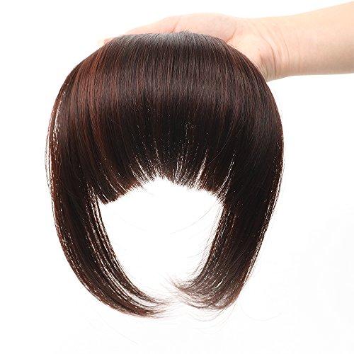 HUA MIAN LI Bob Flat Hair Bangs Heat Resistant Synthetic Hair Clip-in Bangs Straight Bangs With Fringe One Piece Clip Dark Red Brown Aoert ()