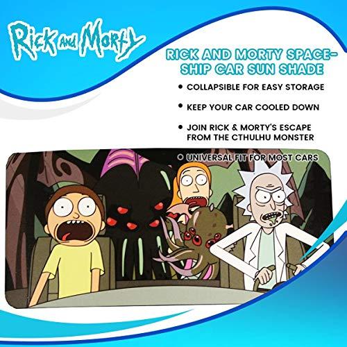 Rick and Morty - Parasol para ventana de coche, producto oficial de Pop Culture TV, visera y escudo para parabrisas, accesorios para automoción, bloqueador UV de tamaño estándar, memoria divertida y divertida